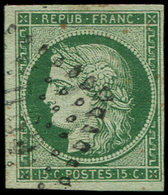 EMISSION DE 1849 - 2b   15c. Vert FONCE, Obl. Losange DS2, Belle Nuance, TB/TTB - 1849-1850 Ceres