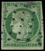 EMISSION DE 1849 - 2b   15c. Vert FONCE, Obl. GROS POINTS, Au Filet En Haut, B/TB - 1849-1850 Cérès