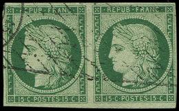 EMISSION DE 1849 - 2b   15c. Vert FONCE, PAIRE Obl. GRILLE SANS FIN, Très Frais Et TB. C Et Br, Cote Maury - 1849-1850 Cérès