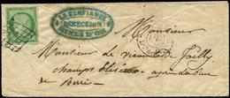 Let EMISSION DE 1849 - 2    15c. Vert, Obl. GRILLE S. LSC, Càd Rouge PARIS/PP/Diston De 4h.s, Arr. 11/10/50 Au Verso, TB - 1849-1850 Ceres
