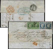 Let EMISSION DE 1849 - 2 Et 4, 15c. Vert (2) Et 25c. Bleu (2), Tous Intacts, Obl. GRILLE SANS FIN S. LAC, Càd PARIS 25/1 - 1849-1850 Ceres