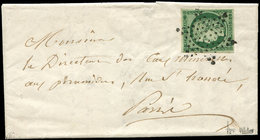 Let EMISSION DE 1849 - 2c   15c. Vert TRES FONCE, Obl. ETOILE S. LAC Du 27/12/52 De Paris Pour Paris, Superbe, Certif. C - 1849-1850 Ceres