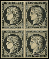 ** EMISSION DE 1849 - 3    20c. Noir Sur Jaune, BLOC De 4, Ch. Sur PAIRE Supérieure, Frais Et TTB - 1849-1850 Ceres