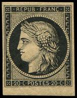 * EMISSION DE 1849 - 3    20c. Noir Sur Jaune, Petit Bdf, TB - 1849-1850 Cérès