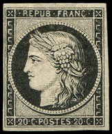 * EMISSION DE 1849 - 3a   20c. Noir Sur Blanc, Ch. Un Peu Forte, TB - 1849-1850 Cérès