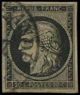 EMISSION DE 1849 - 3    20c. Noir Sur Jaune, Obl. Càd T13 (BOURG) ST ANDEOL (Ardèche), TB - 1849-1850 Cérès