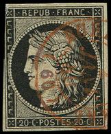 EMISSION DE 1849 - 3    20c. Noir Sur Jaune, Touché Dans Un Angle, Obl. Càd Rouge T15 BUR(EAU CENT)RAL 2/1/49, Frappe TB - 1849-1850 Ceres