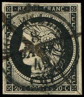 EMISSION DE 1849 - 3    20c. Noir Sur Jaune, Obl. Càd T15 8 JANV 49 Et Plume, TTB - 1849-1850 Cérès