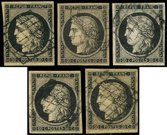 EMISSION DE 1849 - 3    20c. Noir Sur Jaune, 5 Ex. Dont Noir Sur Intense, Obl. GRILLE, TB/TTB - 1849-1850 Cérès