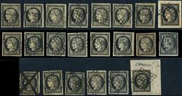EMISSION DE 1849 - 3    20c. Noir Sur Jaune, 22 Ex. Obl., Dont Un Ex. Càd T15 Et Un Ex. Plume Et Càd, Dans L'ensemble TB - 1849-1850 Cérès