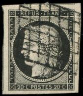 EMISSION DE 1849 - 3a   20c. Noir Sur Blanc, Oblitéré GRILLE, Grandes Marges, TTB/Superbe - 1849-1850 Ceres