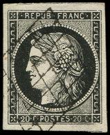 EMISSION DE 1849 - 3a   20c. Noir Sur Blanc, Obl. GRILLE, Belles Marges, TTB - 1849-1850 Cérès