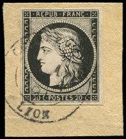 EMISSION DE 1849 - 3a   20c. Noir Sur Blanc, Obl. Càd Tardif De 1891 S. Fragt, TB - 1849-1850 Cérès