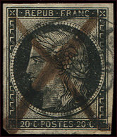 EMISSION DE 1849 - 3a   20c. Noir Sur Blanc, Obl. PLUME Et Càd, Trou D'épingle Sinon TB - 1849-1850 Ceres