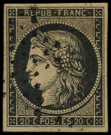 EMISSION DE 1849 - 3b   20c. Noir Sur CHAMOIS, Annulation Des Rebuts, TB - 1849-1850 Ceres