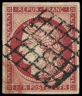 EMISSION DE 1849 - 6     1f. Carmin Clair, Obl. GRILLE, Nuance Vive, TTB, Certif. Calves - 1849-1850 Cérès
