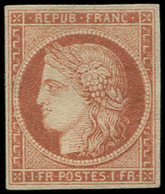 """(*) EMISSION DE 1849 - 7B    1f. Vermillon Terne, """"A LA BARBICHE"""", Restauré, Aspect TB - 1849-1850 Cérès"""