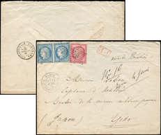 Let DESTINATIONS - N°57 Et 60 PAIRE Obl. Etoile 20 S. Env., Càd PARIS 19/4/73 Pour YEDO, Arr. YOKOHAMA/Bau FRANCAIS 3/6/ - 1849-1876: Classic Period