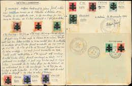 (*) TIMBRES DE LIBERATION - AUDIERNE 2/3, 5, 6 (2), 10/12, 14 Et 21 Collés Sur Lettre Document Du 11/11/44 Avec Cachet D - Liberation
