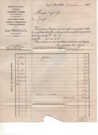 TH4 Lettre Facture Eugène THIBOUVILLE & Fils Manufacture D'instruments De Musique Sage 15c Paris Convoyeur Ligne - 1800 – 1899