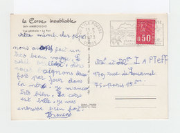Sur Carte Postale De Corse Flamme Ile Rousse Illustrée Citadelle De Calvi. CAD 1973 Ile Rousse Corse. (3208) - Marcophilie (Lettres)