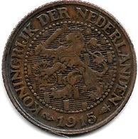 *netherlands 2,5 Cents 1915 Km 134  Vf - [ 3] 1815-…: Königreich Der Niederlande