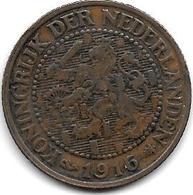 *netherlands 2,5 Cents 1916 Km 134  Vf - [ 3] 1815-… : Royaume Des Pays-Bas