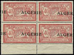 ** ALGERIE 19 : 40c. Rouge Et Bleu, Surcharge A CHEVAL, BLOC De 4 Bdf, TB - Algérie (1924-1962)