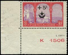 (*) ALGERIE 70c : +5f. Sur 5f. Rouge Et Violet, ARBRE COUPE, Cdf, TB - Algérie (1924-1962)