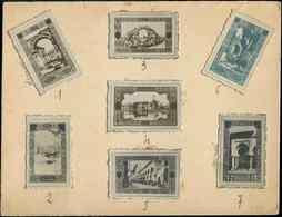 ALGERIE Série De 7 Photos Maquettes En Noir, Sépia Ou Bleu, Collées S. Un Carton, Projets En Vue De La Série Paysages, D - Algérie (1924-1962)