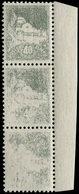** ALGERIE 172 : 40c. Gris-vert, BANDE De 3 Impression Dégradée à SANS IMPRESSION, R Et TB. Br - Algérie (1924-1962)