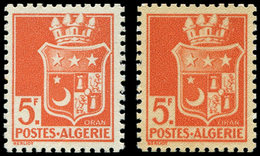 ** ALGERIE 197Aa : 5f. Orange, Impression RECTO-VERSO, TB - Algérie (1924-1962)