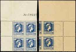 ** ALGERIE 214 : Marianne, 1f50 Bleu, BLOC De 4, IMPRESSION RECTO-VERSO, Celle Du Verso Est à Cheval, Rare Et TB - Algérie (1924-1962)