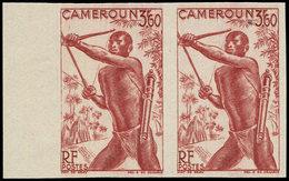 ** CAMEROUN 287 : 3f60 Brun Carminé, PAIRE NON DENTELEE Bdf, TB - Cameroun (1915-1959)