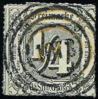ALLEMAGNE (ANCIENS ETATS) TOUR Et TAXIS 20 : 1/4s. Noir Obl., 2 Cachets Superposés, TB - Tour Et Taxis