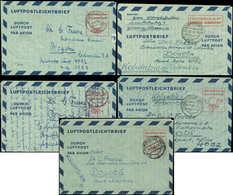 Let RFA Aérogramme LF5, LF6a/b Et LF 7a/b : 5 Aérogrammes à 60pf. De 1952-53 Pour Bogota, TB - [7] République Fédérale