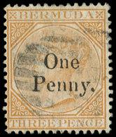 BERMUDES 10 : 1p. Sur 3p. Jaune Foncé, Obl., TB. C - Bermudes