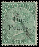 BERMUDES 11 : 1p. Sur 1s. Vert, Obl., TB - Bermudes