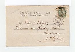 Sur Carte Postale De Figeac Vers Mascara Type Blanc CAD Figeac Et CAD Mascara Oran 1903. (3211) - Postmark Collection (Covers)