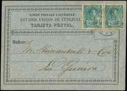 Let VENEZUELA Timbres Fiscaux Postaux 33 : 5c. Vert PAIRE, Obl. Caracas 22/7/83 Sur CP UPU, TTB - Venezuela