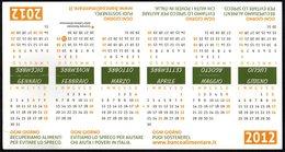 ITALIA - SEGNALIBRO / BOOKMARK - CALENDARIO 2012 - BANCO ALIMENTARE - RECUPERIAMO ALIMENTI PER EVITARE LO SPRECO - Segnalibri