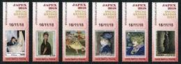 Paintings / Peintures FRANCE Sample Labels JAPEX 2018 (Morisot, Modigliani, Degas, Renoir, Toulouse-Lautrec, Seurat) ATM - Impresionismo
