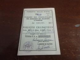 TESSERA FERROVIE DELLO STATO BIGLIETTO CHILOMETRICO-1966 - Europa