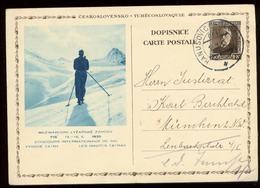 S7527 - CSSR GS Postkarte Mit FIS Skiläufer : Gebraucht Deutsch Liebau - München 1935, Bedarfserhaltung. - Lettres & Documents