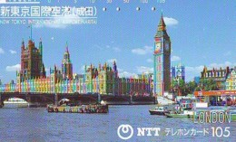 Télécarte Japon ANGLETERRE * ENGLAND *  LONDON * BIG BEN (349) GREAT BRITAIN Related *  Phonecard Japan * - Paysages