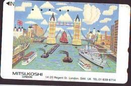 Télécarte Japon ANGLETERRE * ENGLAND * LONDON * TOWER BRIDGE (355) GREAT BRITAIN Related *  Phonecard Japan * - Paysages
