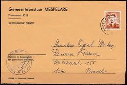 1574 Met Stempel Oudegem Op Brief - 1953-1972 Lunettes