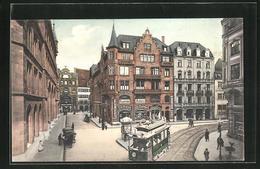AK Basel, Strassenbahn Am Central Hotel - Tramways