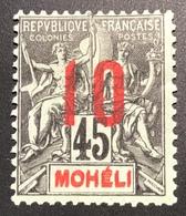 1912 Type Groupe VARIÉTÉ TRÉS RARE DOUBLE LÉGENDE MOHELI, Yv 21a Neuf Signé Scheller (Madagascar Comores Mayotte Anjouan - Nuovi