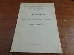 STATUTO DEFINITIVO DELLA CASSA PENSIONI PER IL PERSONALE FERROVIARIO DELLA RETE SICULA-1902 - Ferrovie